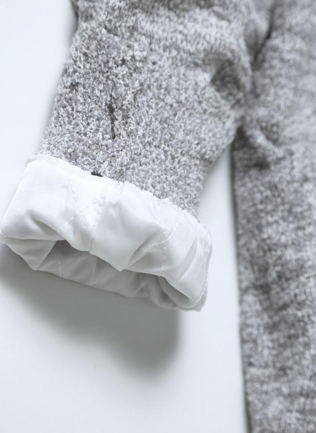 裏ボアブークレエスニックジャガード柄ショールカーディガン詳細05