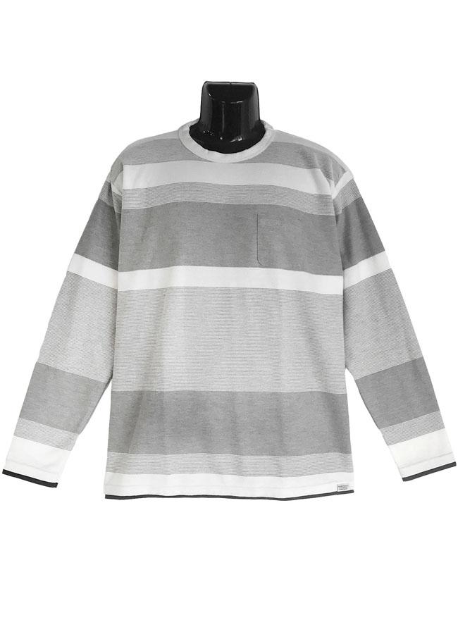胸ポケットスラブ天竺編み変えボーダー重ね着風ロングTシャツカラー1