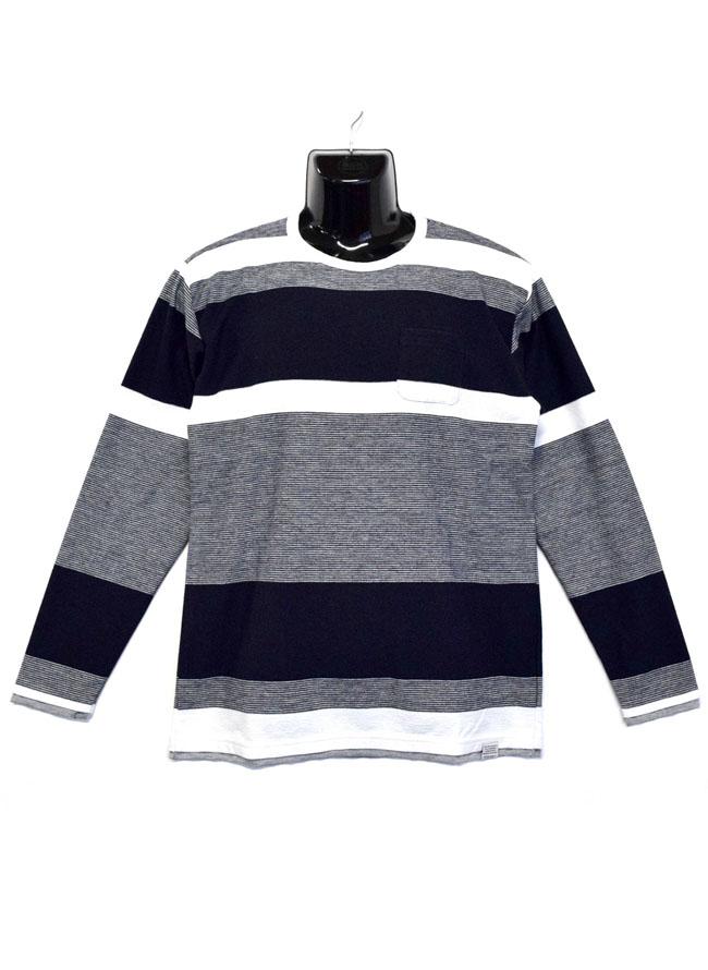 胸ポケットスラブ天竺編み変えボーダー重ね着風ロングTシャツカラー2