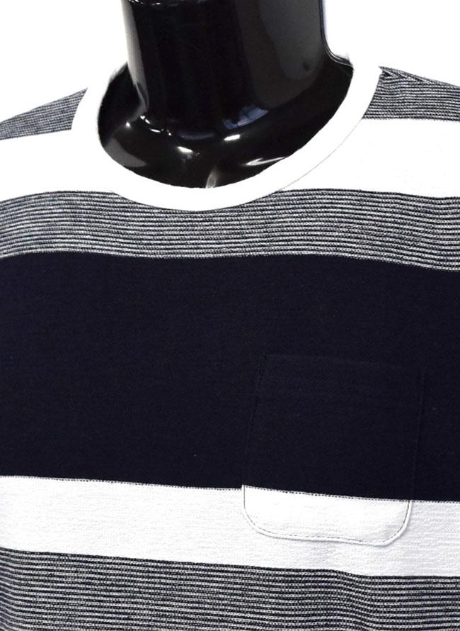 胸ポケットスラブ天竺編み変えボーダー重ね着風ロングTシャツ詳細02