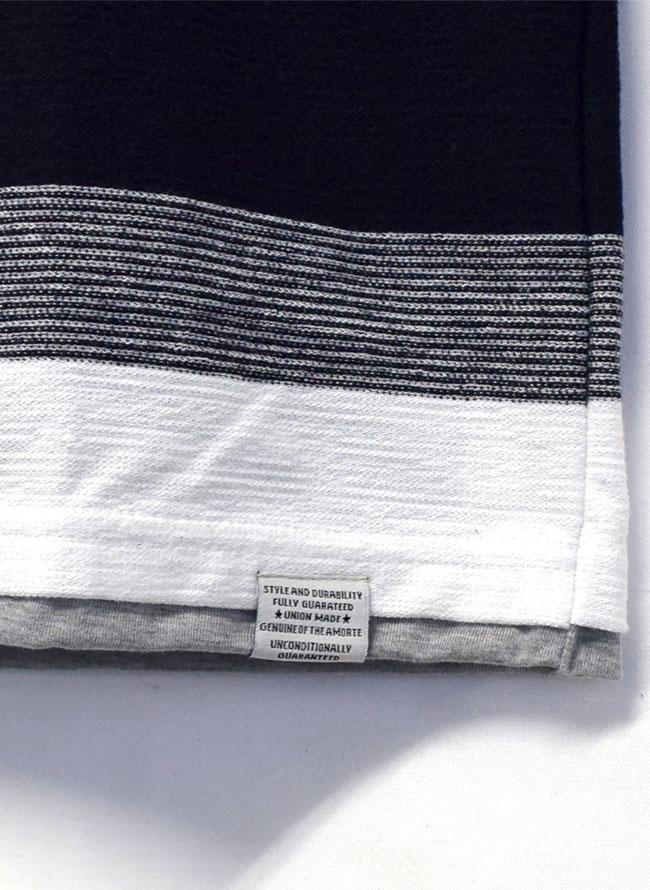 胸ポケットスラブ天竺編み変えボーダー重ね着風ロングTシャツ詳細03