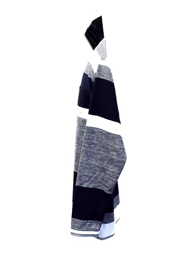胸ポケットスラブ天竺編み変えボーダー重ね着風ロングTシャツ詳細05