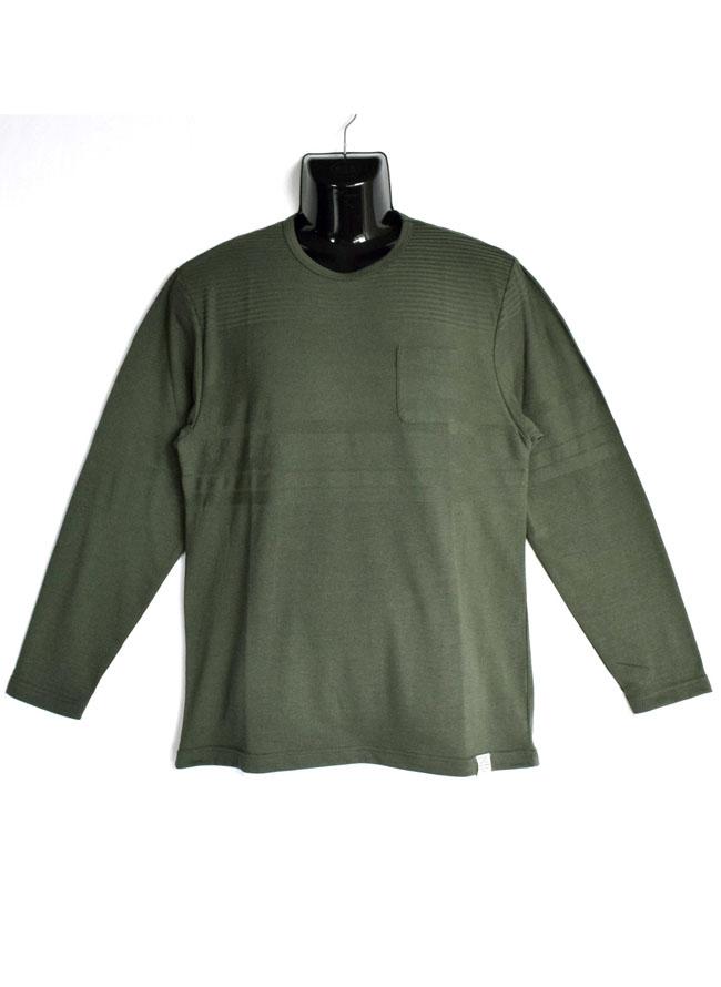 編みかえボーダー重ね着風ロングTシャツカラー1