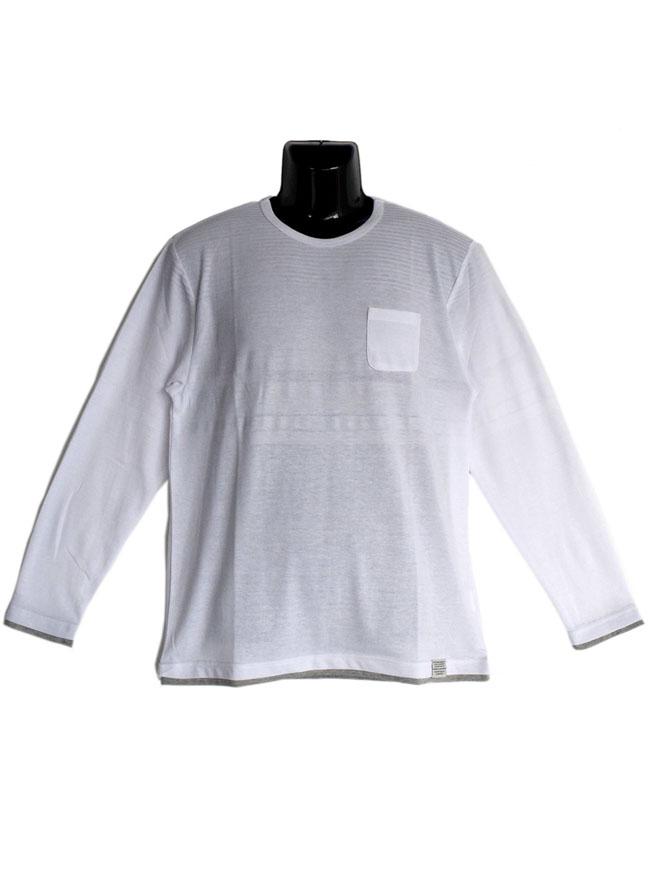 編みかえボーダー重ね着風ロングTシャツカラー2