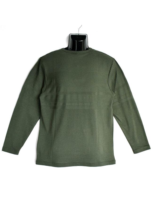 編みかえボーダー重ね着風ロングTシャツ詳細01