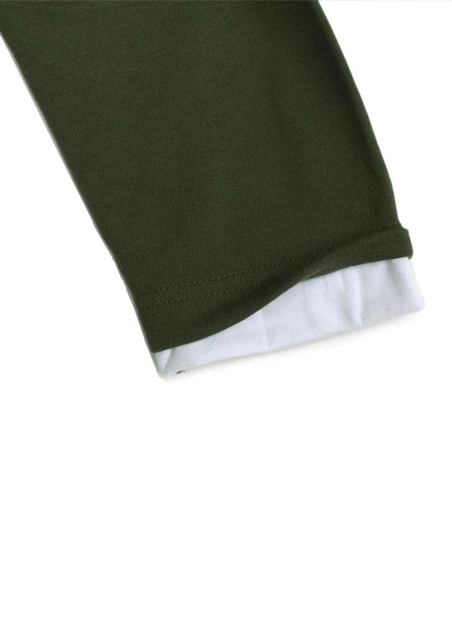 編みかえボーダー重ね着風ロングTシャツ詳細04