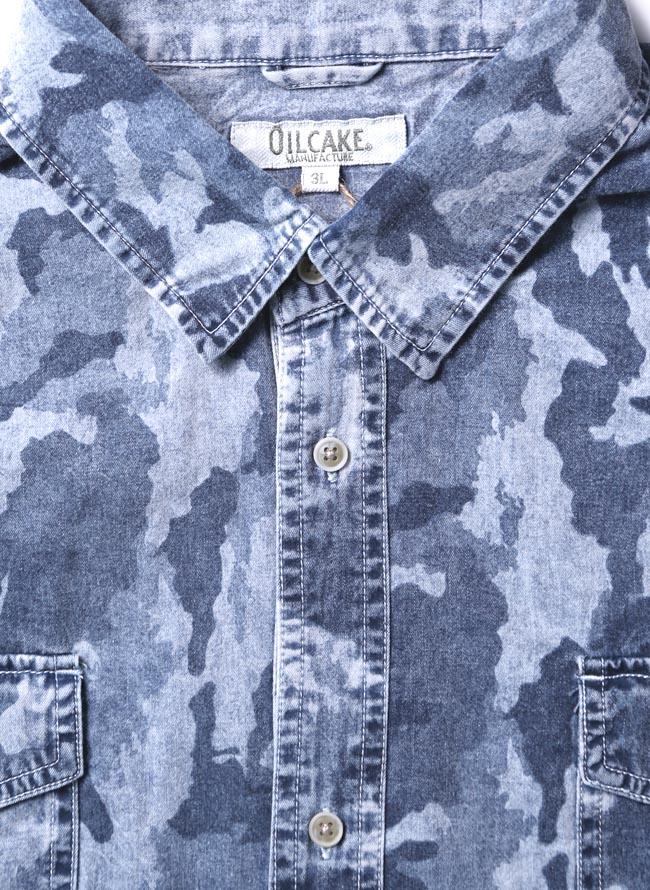 【大きいサイズ メンズ】迷彩 カモフラ プリント両フラップポケット長袖シャツ カジュアルシャツ 3L/4L/5L/詳細01