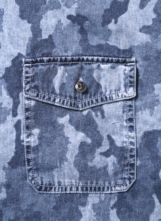 【大きいサイズ メンズ】迷彩 カモフラ プリント両フラップポケット長袖シャツ カジュアルシャツ 3L/4L/5L/詳細02