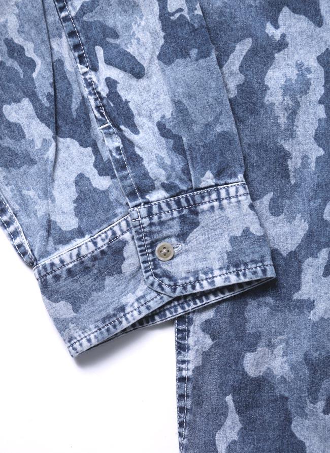 【大きいサイズ メンズ】迷彩 カモフラ プリント両フラップポケット長袖シャツ カジュアルシャツ 3L/4L/5L/詳細03