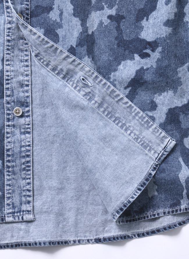 【大きいサイズ メンズ】迷彩 カモフラ プリント両フラップポケット長袖シャツ カジュアルシャツ 3L/4L/5L/詳細04