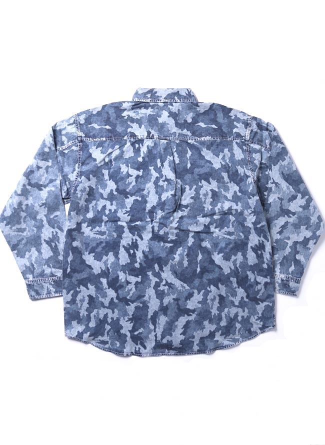 【大きいサイズ メンズ】迷彩 カモフラ プリント両フラップポケット長袖シャツ カジュアルシャツ 3L/4L/5L/詳細05