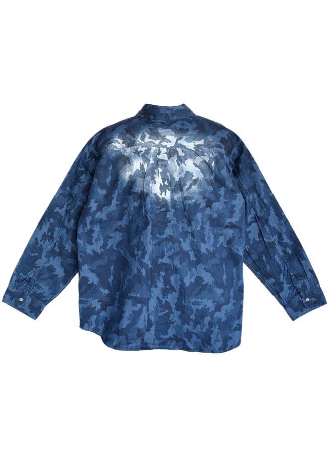 【大きいサイズ メンズ】迷彩 カモフラ プリント両フラップポケット長袖シャツ カジュアルシャツ 3L/4L/5L/詳細07
