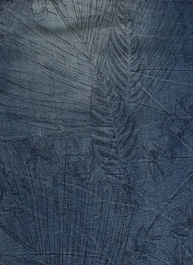 大きいサイズクロップドパンツメンズストレッチデニム7分丈アンクレット付きボタニカル柄プリントカジュアル青紺春夏3L4L5L