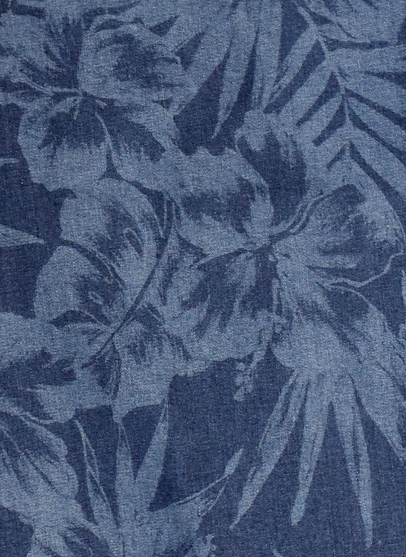 大きいサイズクロップドパンツメンズストレッチデニム7分丈アンクレット付きボタニカル柄カジュアル青紺春夏3L4L5L