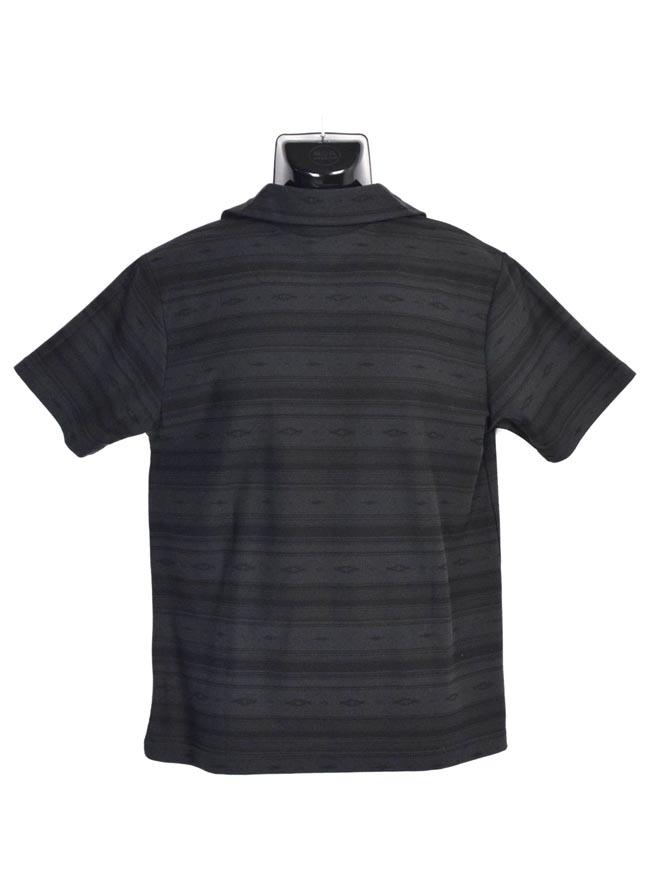 大きいサイズポロシャツメンズCREATIONCUBEエスニックボーダー総柄3L4L5Lカジュアル黒紺春夏