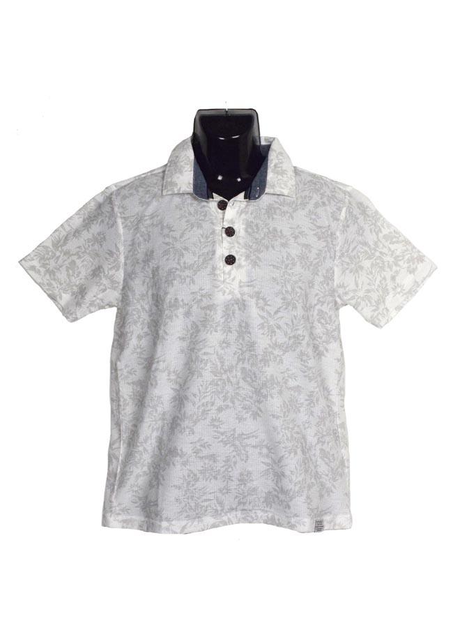 【大きいサイズ メンズ】CREATION CUBE 梨地 単色ボタニカル総柄ポロシャツ 3L/4L/5L