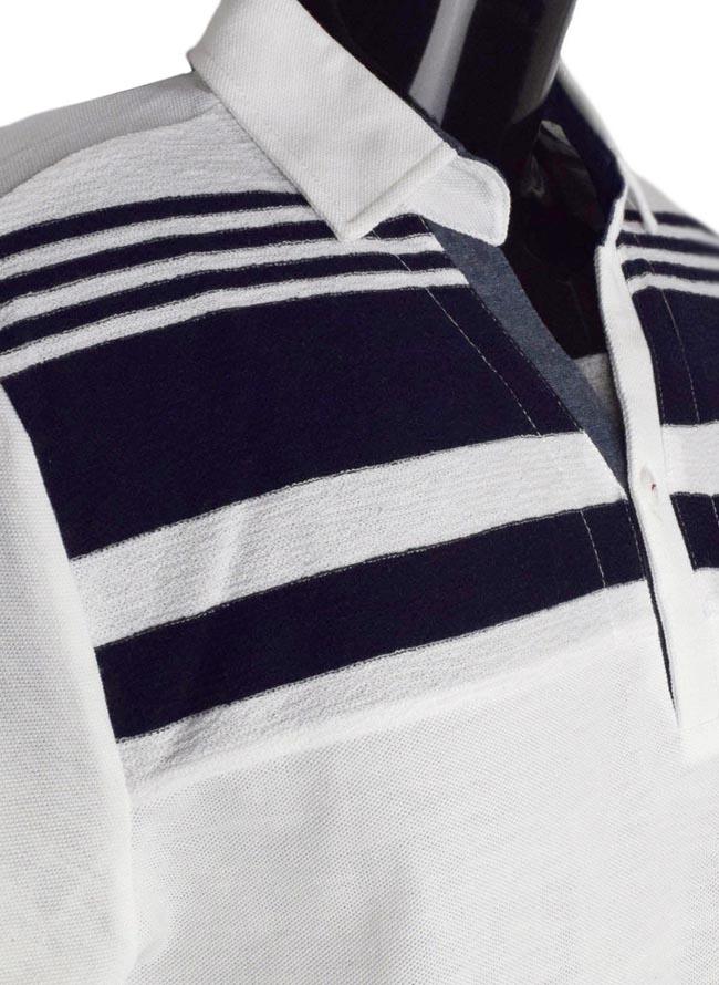 大きいサイズポロシャツメンズスキッパーCREATIONCUBEパネルボーダー異素材切替3L4L5Lカジュアル白紺灰春夏