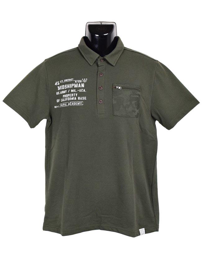 大きいサイズポロシャツメンズCREATIONCUBEミリタリーZIPポケット付き3L4L5Lカジュアル白緑春夏