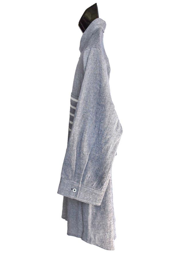 大きいサイズ五分七分袖シャツカジュアルシャツメンズボタンダウンコットンパナマポケット切り替え無地清涼3L4L5L白紺春夏秋