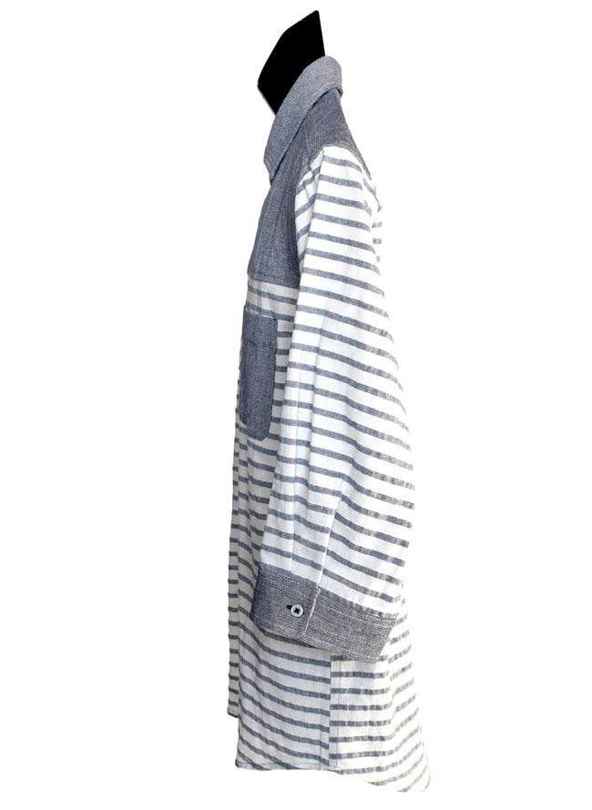 大きいサイズ五分七分袖シャツカジュアルシャツメンズボタンダウンコットンパナマポケット切替ボーダー清涼3L4L5L白紺春夏秋
