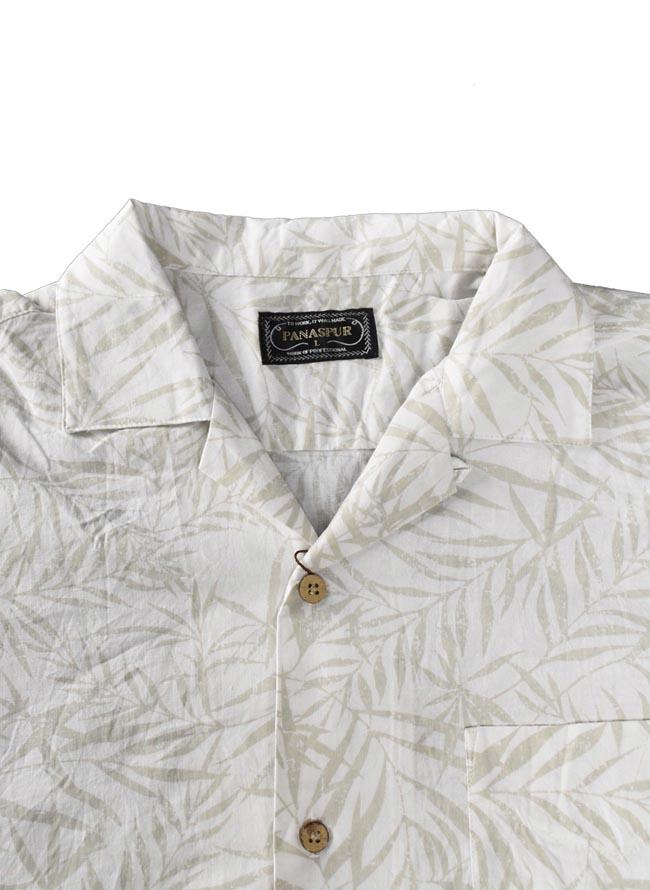 大きいサイズ五分七分袖シャツカジュアルシャツメンズ麻混スラブリーフ柄3L4L5Lカジュアル白紺春夏