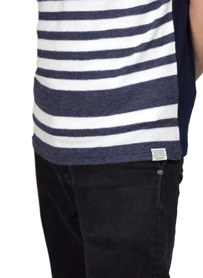 大きいサイズ半袖Tシャツカットソーメンズ前身切替CREATIONCUBE先染ボーダー天竺2L3L4L5Lカジュアル白紺緑灰桃春夏