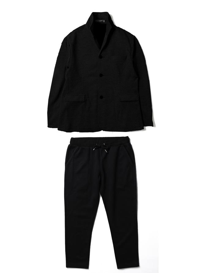 ワッフルイタリアン襟ストレッチセットアップ 上下セット カジュアル スーツ テーラードジャケット ジョガーパンツカラー1