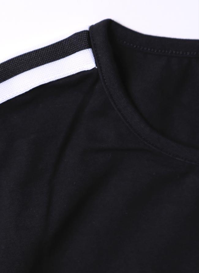 大きいサイズ長袖TシャツカットソーメンズUネックロンTストレッチ素材ラインテープ星3L(XXL)4L(XXXL)スポーツカジュアル緑黒春秋