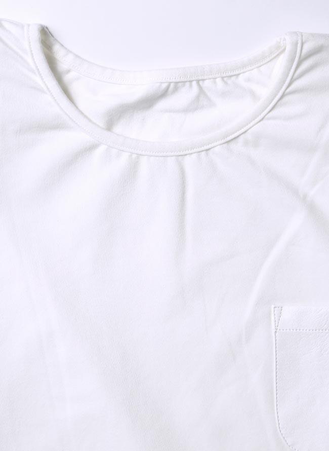 大きいサイズ長袖TシャツカットソーメンズUネックロンTストレッチ素材胸ポケットバックロゴ3L(XXL)4L(XXXL)スポーツカジュアル白春秋