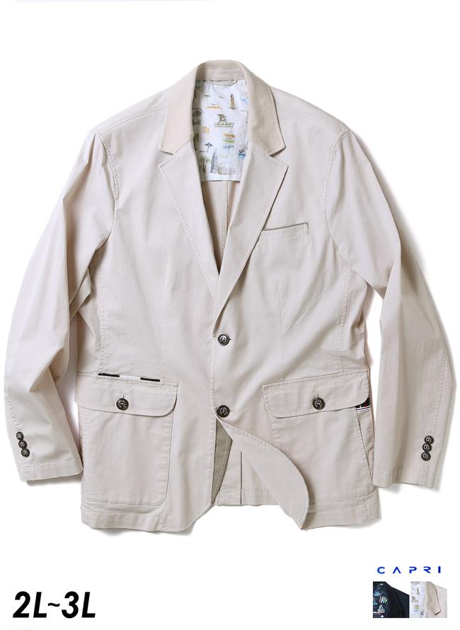 [各色1点限定]CAPRI(カプリ)異素材切り替えストレッチ2重ポケットジャケット イカリマーク テーラード 2L/3L