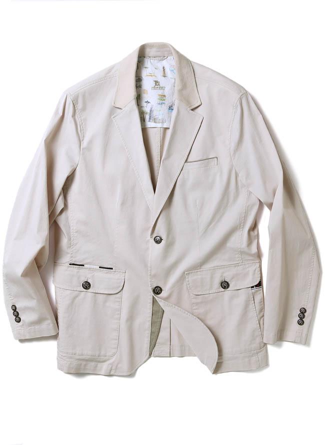 CAPRI(カプリ)異素材切り替えストレッチ2重ポケットジャケット イカリマーク テーラードカラー1