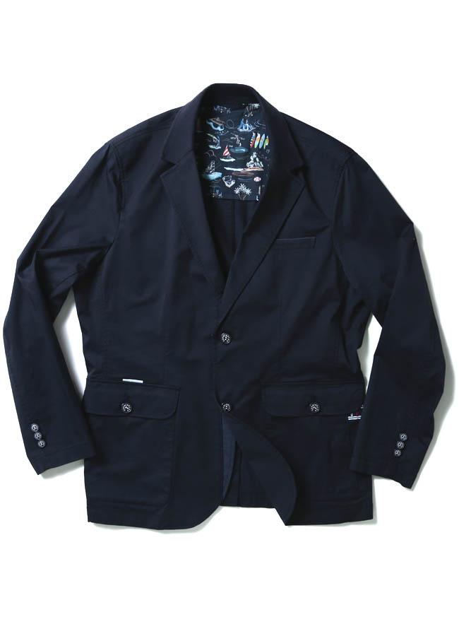 【大きいサイズ メンズ】[各色1点限定]CAPRI(カプリ)異素材切り替えストレッチ2重ポケットジャケット イカリマーク テーラード 2L/3L