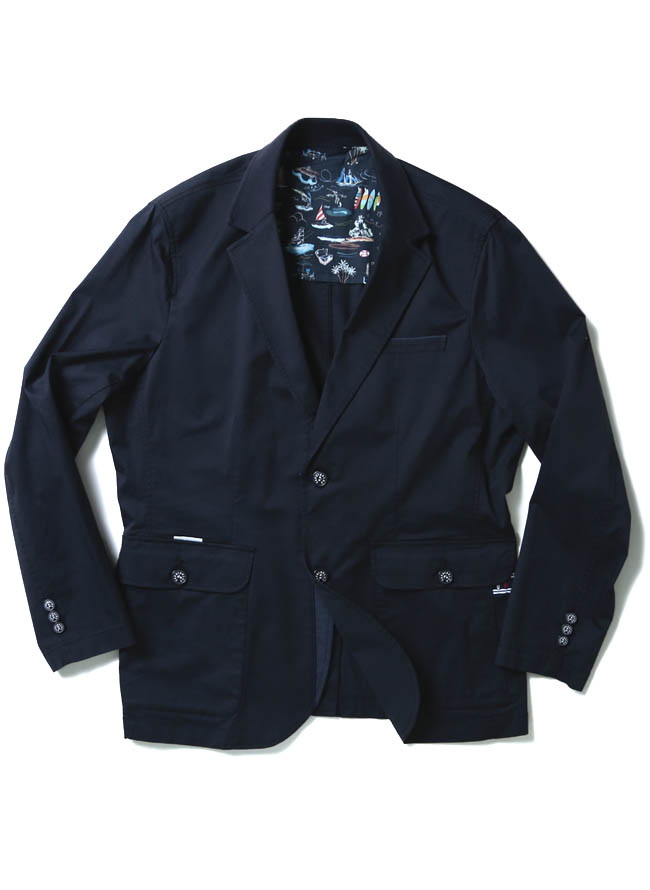 CAPRI(カプリ)異素材切り替えストレッチ2重ポケットジャケット イカリマーク テーラードカラー2