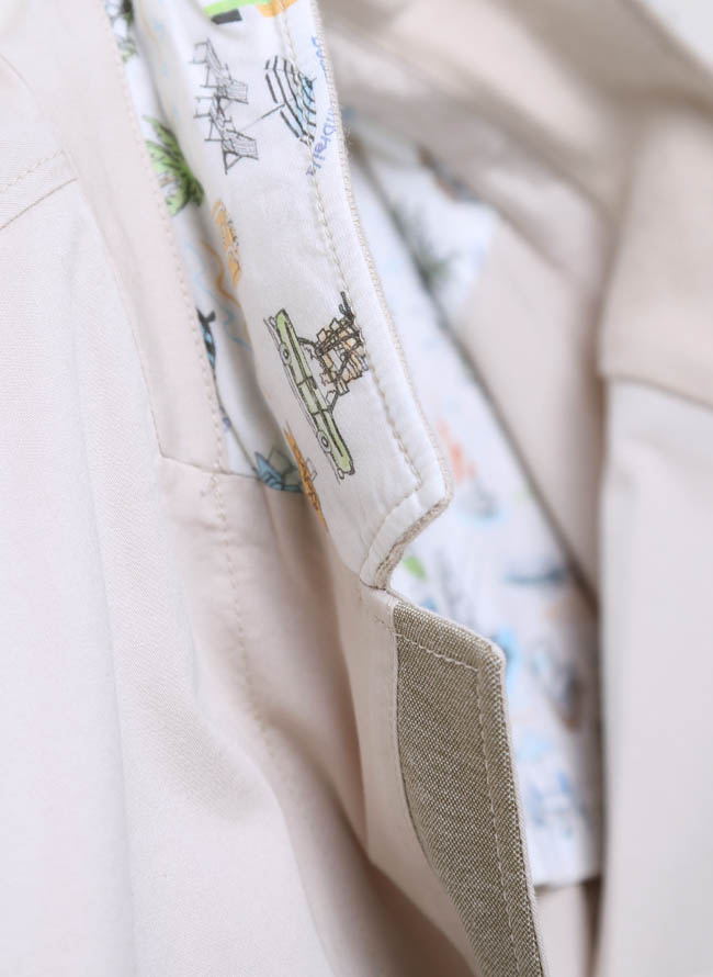 CAPRI(カプリ)異素材切り替えストレッチ2重ポケットジャケット イカリマーク テーラード詳細04