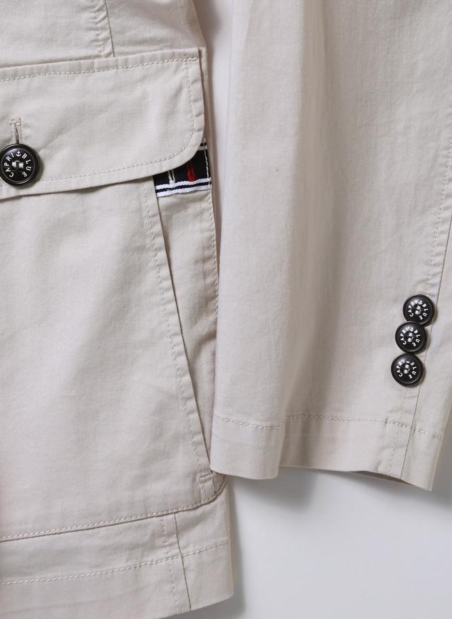 CAPRI(カプリ)異素材切り替えストレッチ2重ポケットジャケット イカリマーク テーラード詳細07
