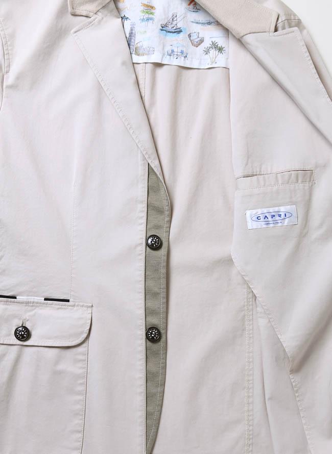 CAPRI(カプリ)異素材切り替えストレッチ2重ポケットジャケット イカリマーク テーラード詳細12
