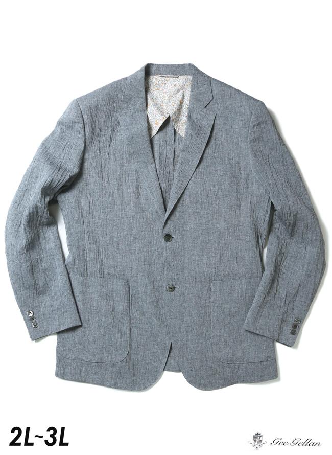 【大きいサイズ メンズ】 裏地花柄しわ加工涼しい綿麻ジャケット 2L/3L