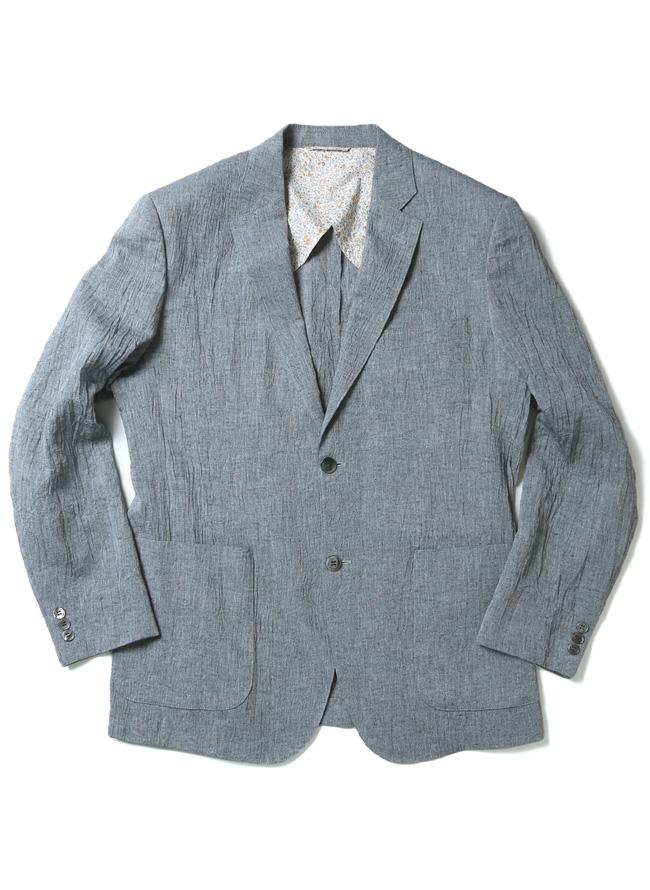 裏地花柄しわ加工涼しい綿麻ジャケットカラー1