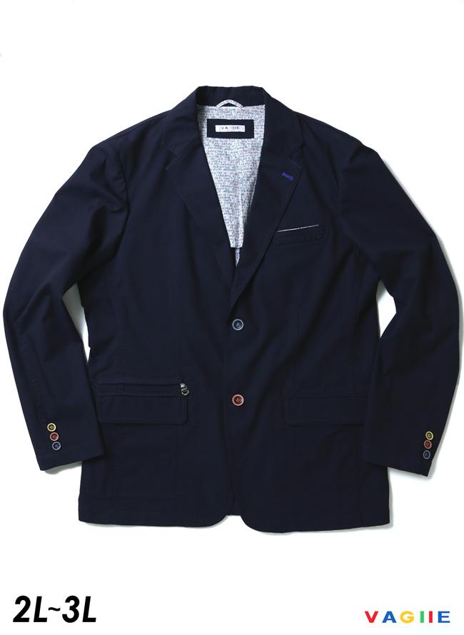 [各色1点限定]VAGIIE(バジエ)カラーボタン清涼ジャケット 紺 テーラード 2L/3L