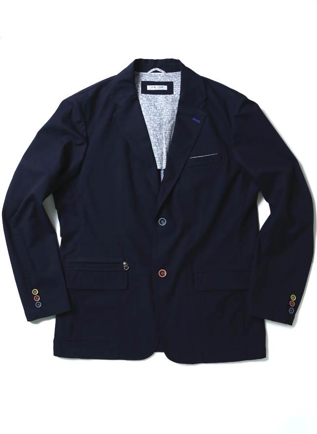 VAGIIE(バジエ)カラーボタン清涼ジャケット 紺 テーラードカラー1