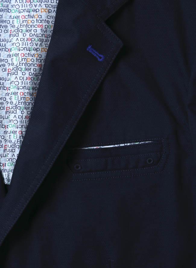 VAGIIE(バジエ)カラーボタン清涼ジャケット 紺 テーラード詳細02