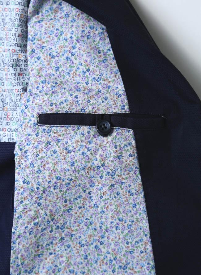VAGIIE(バジエ)カラーボタン清涼ジャケット 紺 テーラード詳細05