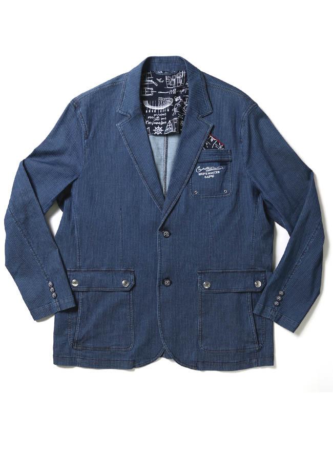 【1点限り】CAPRI(カプリ)ポケットチーフ付きデニムストライプ柄2重ポケットジャケットカラー1