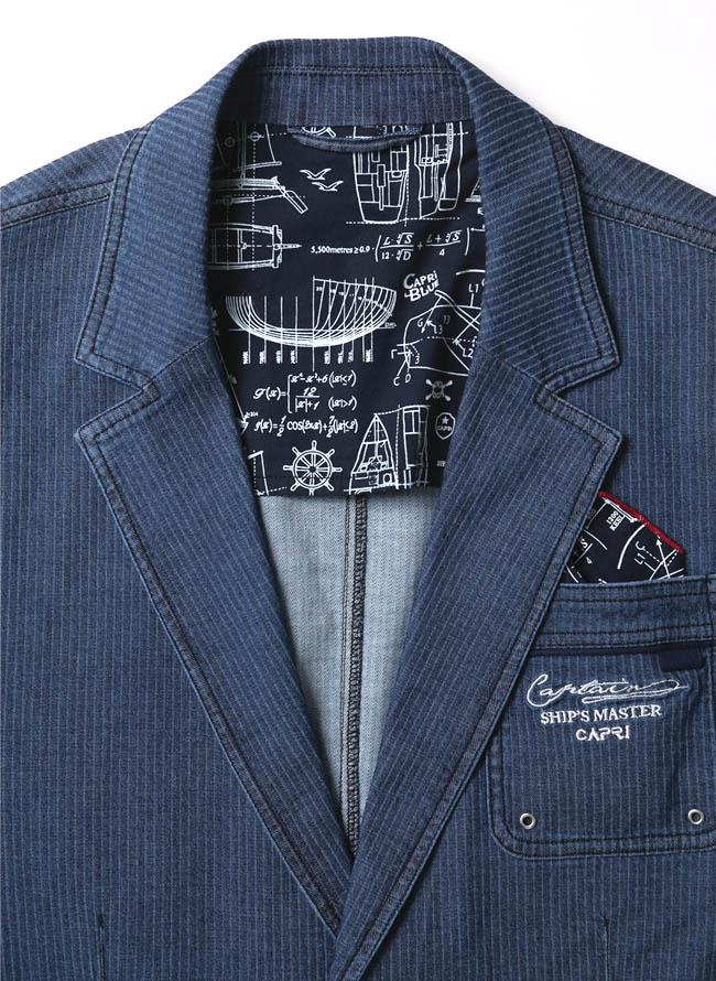 【1点限り】CAPRI(カプリ)ポケットチーフ付きデニムストライプ柄2重ポケットジャケット詳細01