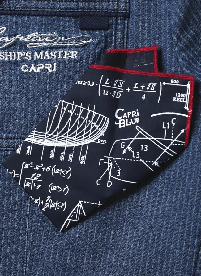 【1点限り】CAPRI(カプリ)ポケットチーフ付きデニムストライプ柄2重ポケットジャケット詳細02