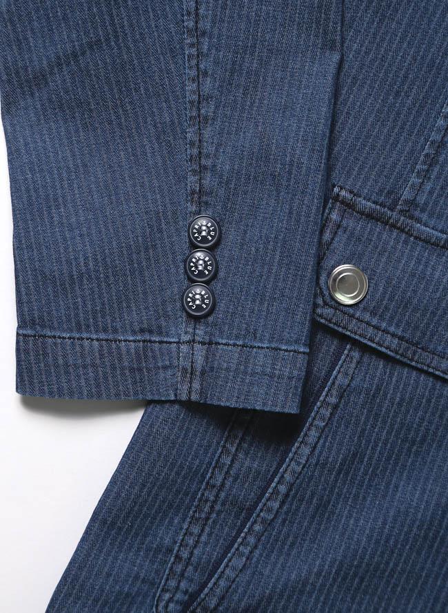 【1点限り】CAPRI(カプリ)ポケットチーフ付きデニムストライプ柄2重ポケットジャケット詳細03