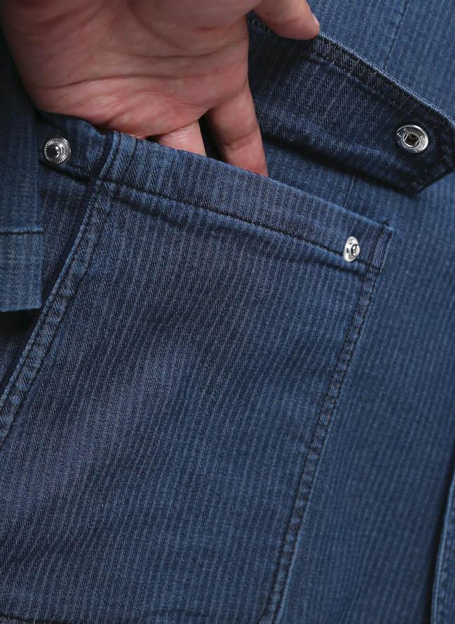 【1点限り】CAPRI(カプリ)ポケットチーフ付きデニムストライプ柄2重ポケットジャケット詳細05