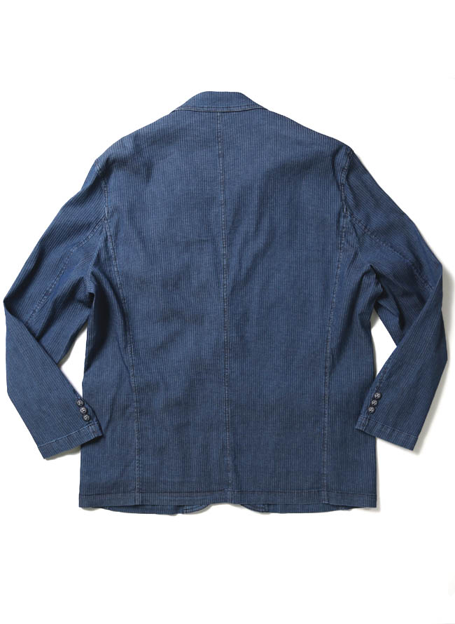 【1点限り】CAPRI(カプリ)ポケットチーフ付きデニムストライプ柄2重ポケットジャケット詳細06