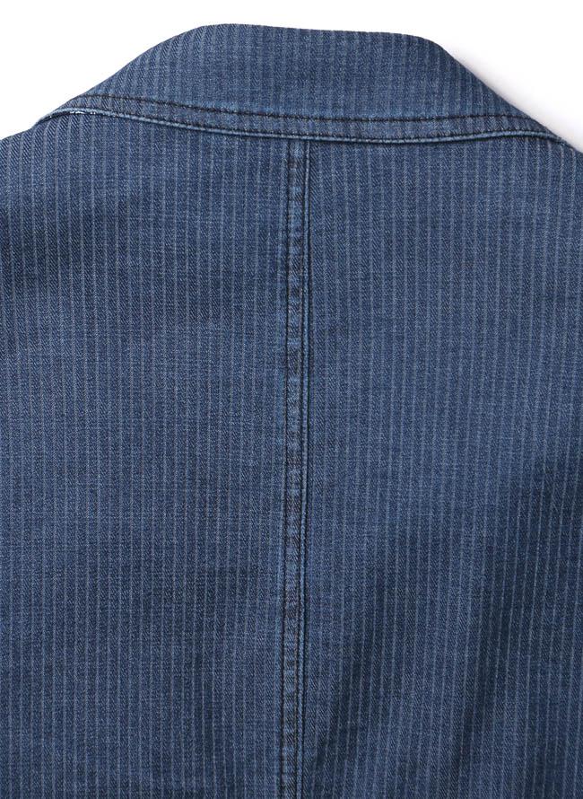 【1点限り】CAPRI(カプリ)ポケットチーフ付きデニムストライプ柄2重ポケットジャケット詳細07