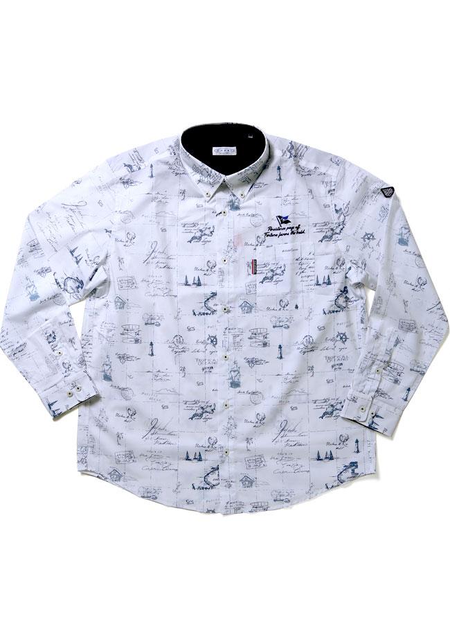 【大きいサイズメンズ】CAPRI(カプリ)イタリア柄綿100%ボタンダウン長袖シャツカジュアルシャツ2L(50)/3L(52)カラー1